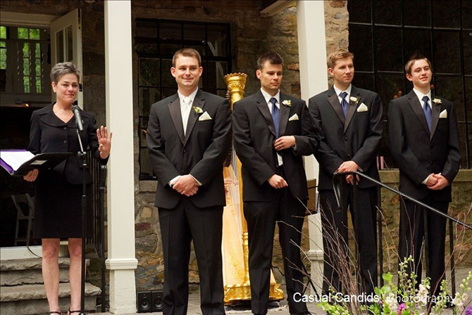 Reverend Kathleen with groomsmen