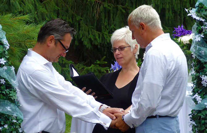 Reverend Pamela Brehm - Wedding ceremony grooms exchange vows