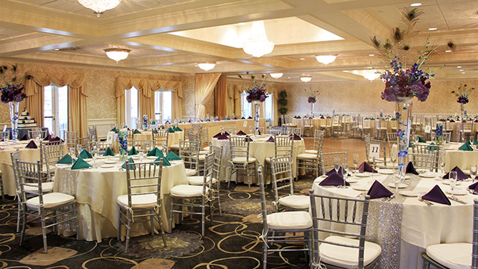 Springfield Country Club - Golf View Ballroom, elegant draperies and floor to ceiling windows