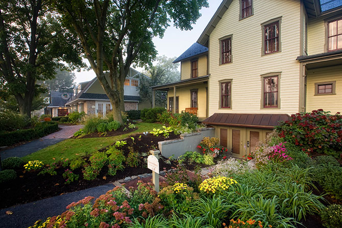 The Inn At Leola Village Front Entrance with garden landscaping