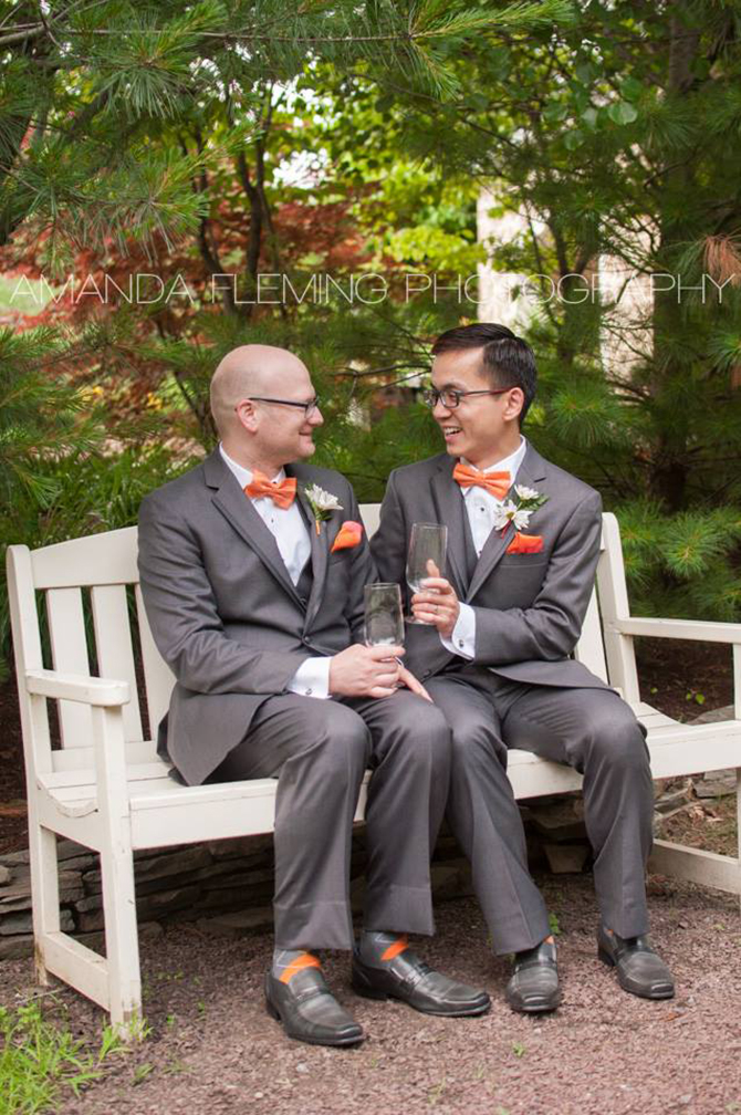 The Inn At Leola Village Newly Married Gay Couples Toast On A Bench