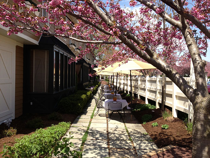 The Inn At Leola Village outdoor dining under cherry tree in bloom