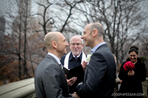 Gay marriage ceremony officiated by Reverend Will Mercer in New York City