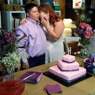Minister On The Fly The Woodlands Texas - Emotional Couple Before Cutting The Cake
