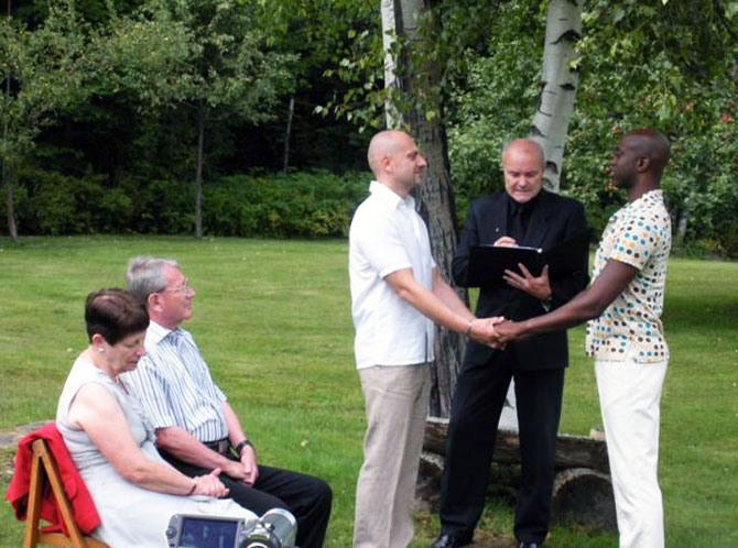 Moose Meadow Lodge - LGBT wedding ceremony outdoors