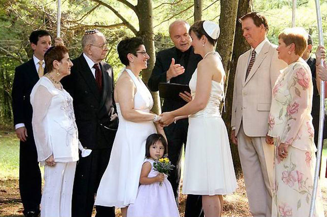 Moose Meadow Lodge - LGBT Jewish wedding ceremony outdoors