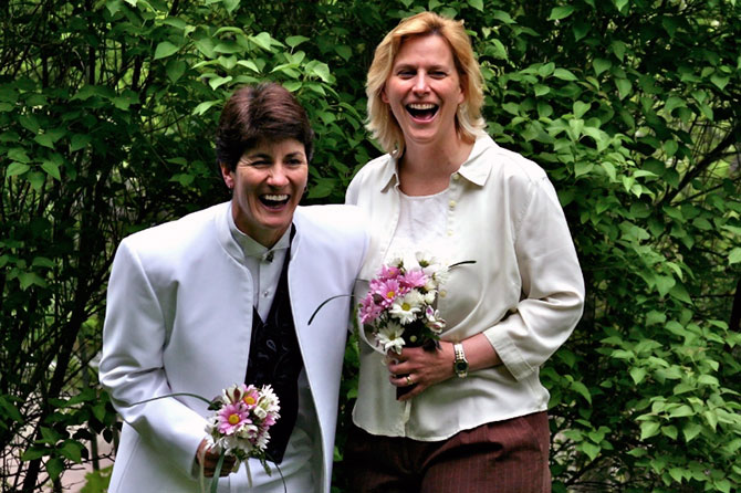West Hill House B&B LGBT couple on their wedding day