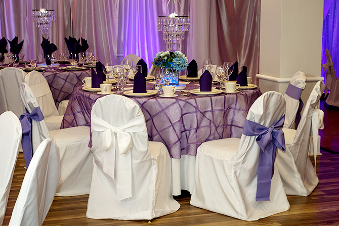 Butler's Unique Catering & Events - Reception dining lavender and white