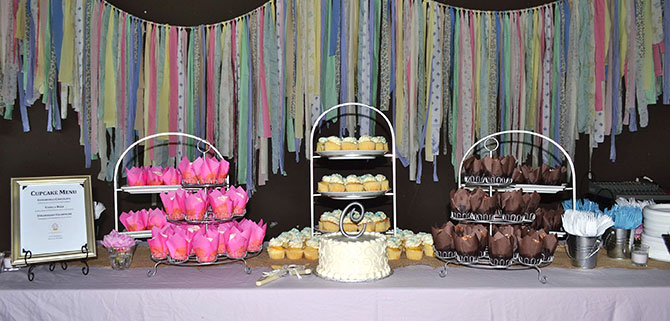 Classy Girl Cupcakes - Assorted cupcake displays all natural ingredients