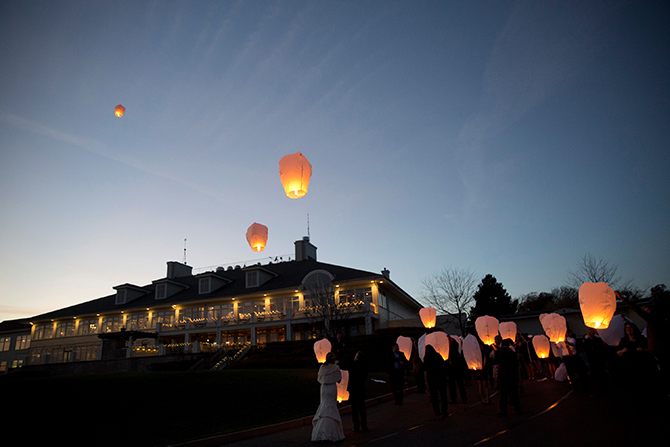 Geneva National Resort LGBT Floating Paper Lanterns Launch at Lake Geneva Wisconsin