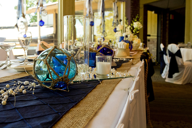 Nautical themed indoor wedding rception - glass bouys - Lake Lawn Reosrt in Wisconsin