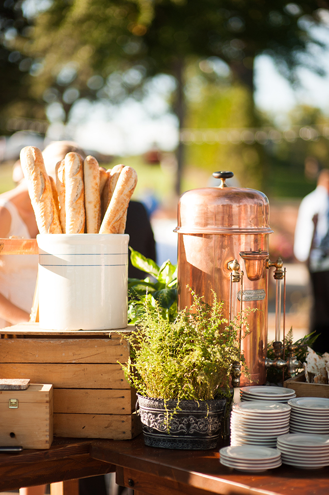 Outdoor wedding reception - French bread and coffee served in copper urn - Lake Lawn Resort in Wisconsin