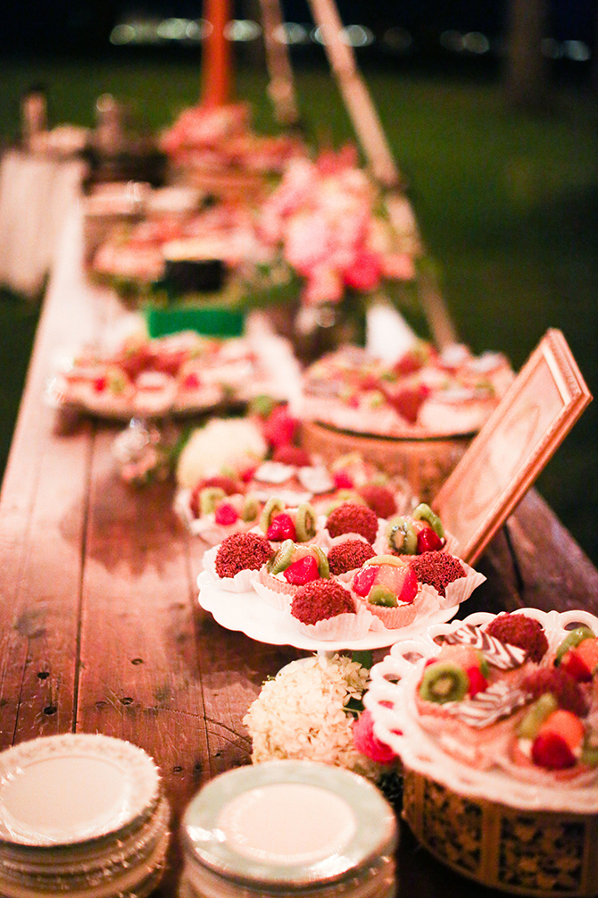 Rustic wedding desert display - Lake Lawn Resort in Wisconsin