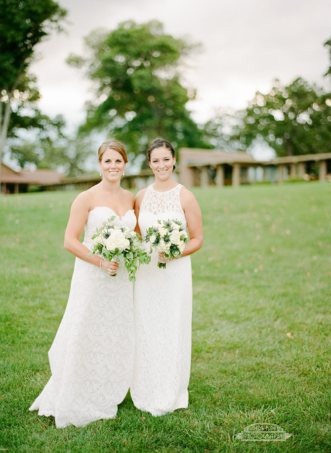 Lesbian wedding day - two brides in gorgeous white gowns - Lake Lawn Resort in Wisconsin