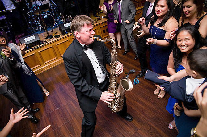 Groove Place Havertown PA LGBT Wedding Dance Band Grooving With Saxaphone
