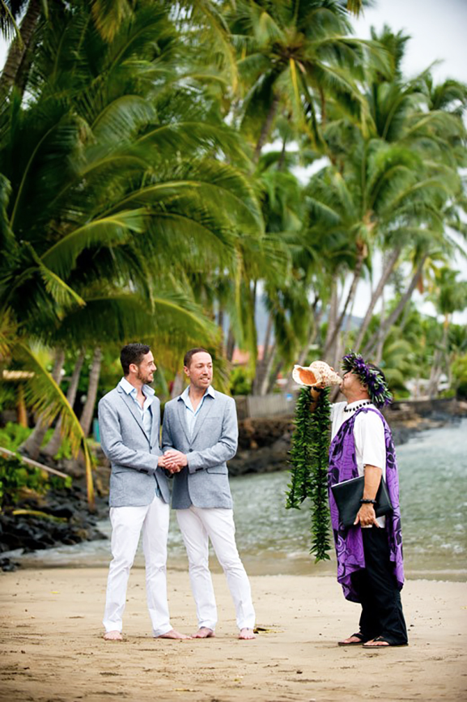 670 marry me maui grooms wearing gray shell horn - beach weddings in delaware