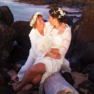Maui Aloha Weddings Kihei Hawaii Lesbian Couple Embrace On The Beach