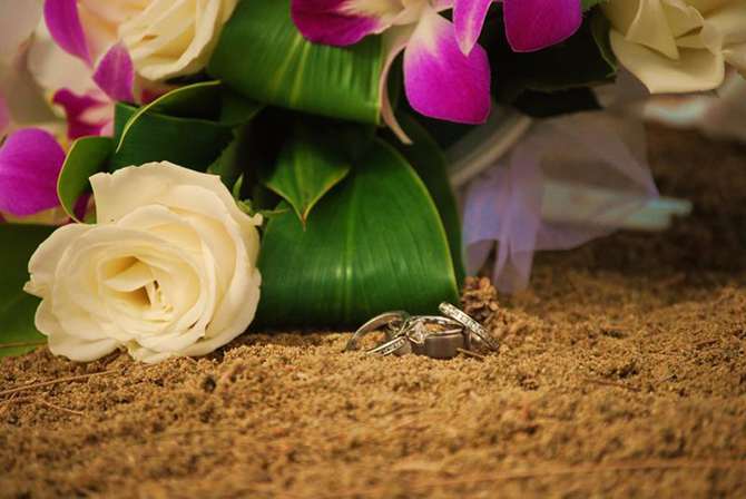 Trinity Hawaiian Weddings - Bright Flowers & Rings